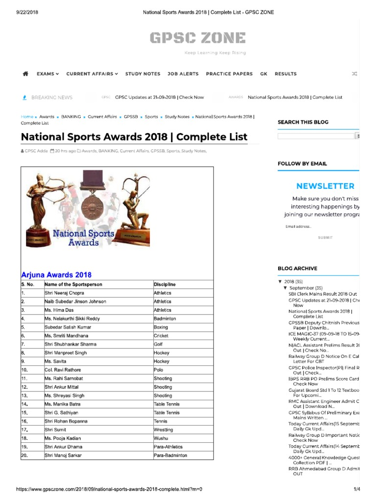 National Sports Awards 2018 _ Complete List - GPSC ZONE