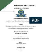 Calidad Del Agua en Función de Turbidez y Coliformes en La Planta de Tratamiento La Quesera, Sucre, Celendín, 2016-2017