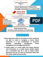 """a Study on Brand Awareness of Aditya Birla Payments Bank Amongst Consumers in Lucknow City"""