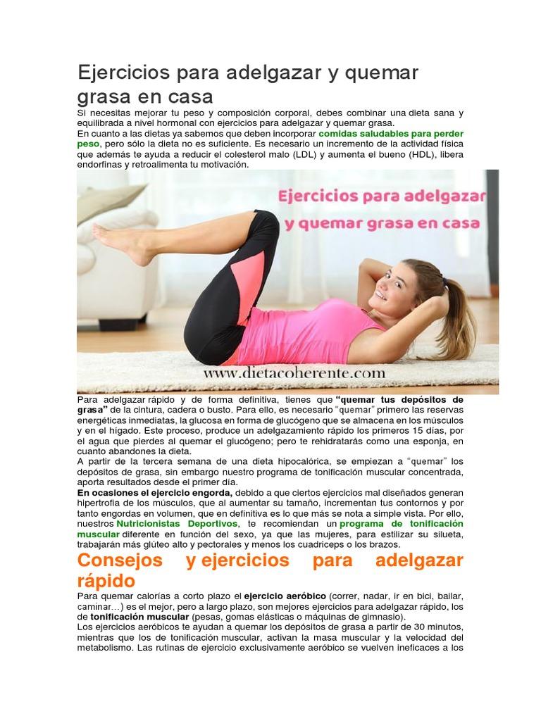 ejercicios para adelgazar casa