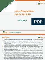 Ujjivan Investor Presentation Q1 FY 2018 19