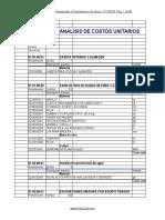 Analisis de Costos Unitarios en Excel