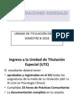 Consideraciones Generales de Titulación B-2018.
