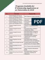 Study Programs for Taiwan ICDF
