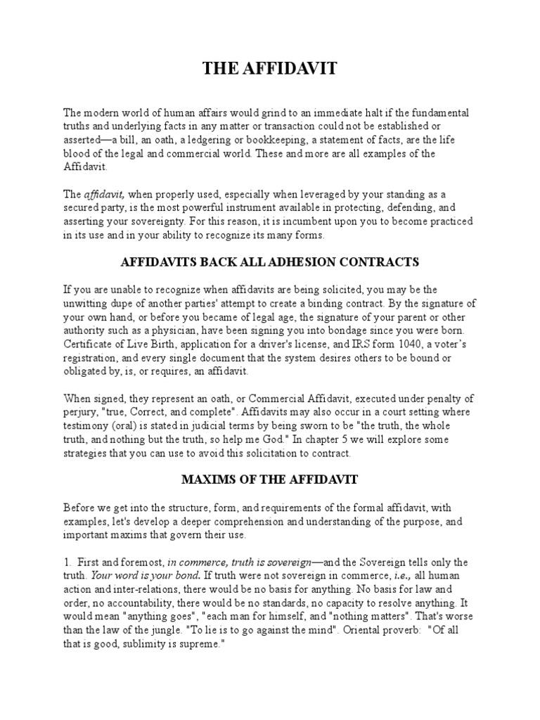 The Affidavit | Money | Credit
