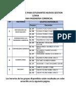 4. Carrera de Ingeniería Comercial  - Horario para Nuevos - Gestion 1-2018-1.pdf