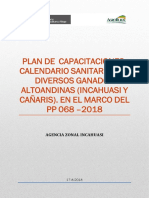 Plan -Capacitación Calendario Sanitario Para El Ganado Altoandino 2018-2019.