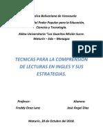 Tecnicas Para La Comprension de Lecturas en Ingles y Sus Estrategias