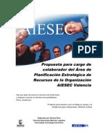 PROPUESTA PARA CARGO DE COLABORADOR DEL ÁREA DE PLANIFICACIÓN ESTRATEGICA DE RECURSOS DE LA ORGANIZACIÓN AIESEC VALENCIA