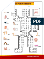 Body Parts Wordsearch