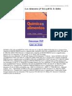Quimica de Los Alimentos (3ª Ed)