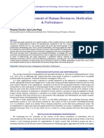 Strategic Management of Human Resources. Motivation & Performance