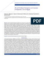 The Role of Small and Medium Enterprises in Economic Development, Case of Egypt