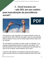 Mises Brasil - Você Trocaria Um Aumento de Até 30% Em Seu Salário Pela Manutenção Da Previdência Social