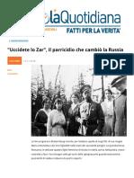 """""""Uccidete Lo Zar"""". Il Parricidio Che Cambio La Russia"""