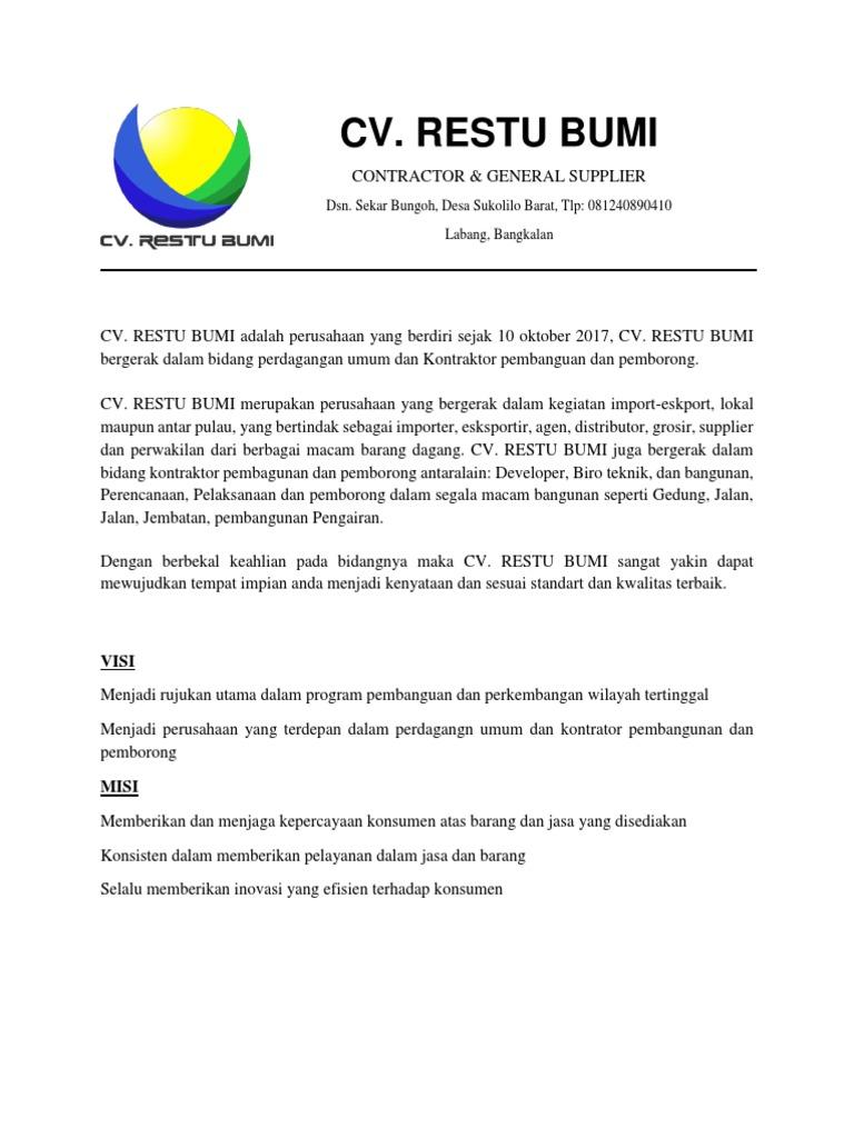 Company Profile Restu Bumi