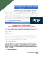UPSC Public Administration Syllabus - IAS Mains Optional Subjects