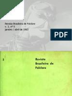 Revista brasileira do folclore N°05 - Janeiro a Abril de 1963