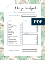 2018 Monthly Budget