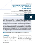 An Experimental Insight on the Selection of the Tool Tilt Angle for Friction Stir Welding of 7075 T651 Aluminum Alloys