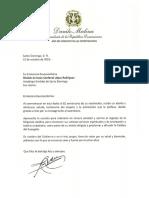 Carta de felicitación del presidente Danilo Medina a Nicolás de Jesús Cardenal López Rodríguez al conmemorarse el 82 aniversario de su nacimiento