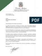 Carta de condolencias del presidente Danilo Medina a Nora Paradas viuda Pellerano por fallecimiento de su esposo, Juan Manuel Pellerano Gómez