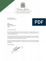Carta de felicitación del presidente Danilo Medina a Miguel Franjul por la conmemoración de sus 50 años de ejercicio profesional