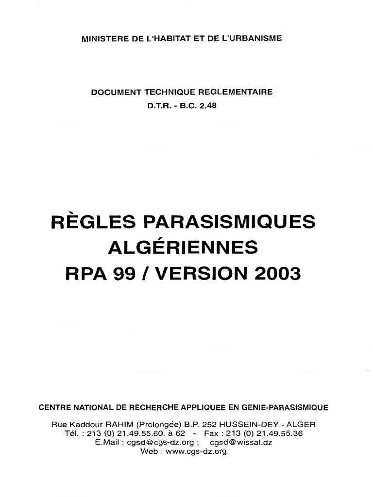 99 2003 PARASISMIQUE TÉLÉCHARGER REGLEMENT LE ALGERIEN VERSION