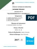 Informe N° 14 - Mantenimiento y Overhaul