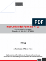 3. Instructivo Para El Registro Del Formato 3 - Registro Del Programa de Inversión