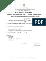 Prova Final de Matemática Da 10ª Classe 2018