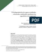 A 2011 Fotodegradación de Aguas Residuales Coloreadas Analizadas Mediante Las Superficies de Respuesta