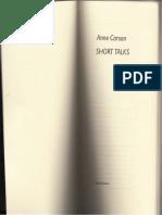 «Short Talks», Anne Carson