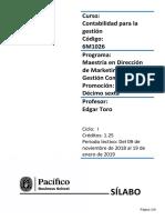 Sílabo Contabilidad Para La Gestión-Prof. E. Toro MDMGC16