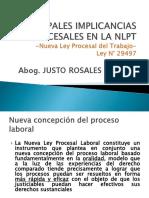 Principales Implicancias Procesales en La NLPT - Justo Rosales M