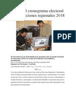 Cronograma de Elecciones Municipales y Regionales 2018