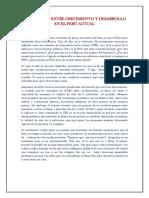 La Relación Entre Crecimiento y Desarrollo en El Perú Actual