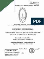 Diseño Del Sistema HACCP en Productos Vegetales (Frutas- Hortalizas)