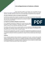 El Entorno Cultural de Las Negociaciones en Honduras y El Mundo