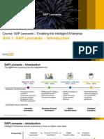 Course SAP Leonardo – Enabling the Intelligent Enterprise