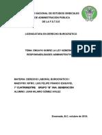 Ensayo Sobre La Ley General de Responsabilidades Administrativas Derecho Laboral Burocrático i