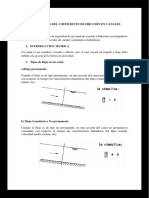 Estudio del coeficiente de friccion en canales abiertos