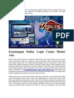 Keuntungan Daftar Login Casino Sbobet Asia