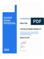 Gokhan Yilmaz Cloud Service Automation Essentials v4.6 ASP Certification