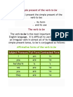 The Simple Present of the Verb to Beexplain