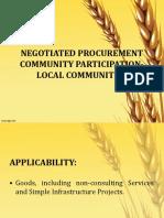 Negotiated Procurement- Community Based Participation