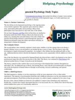 Developmental Psychology Study Topics
