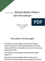 Bentuk- Bentuk Badan Hukum Dan Perusahaan
