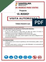 Tarjeta de Ingreso de Visitas Constructora Santolaya Limitada.