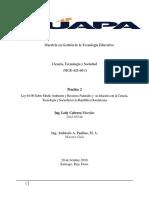 Ley 64-00 Sobre Medio Ambiente y Recursos Naturales y  su relación con la Ciencia, Tecnología y Sociedad en la República Dominicana practica 2.docx